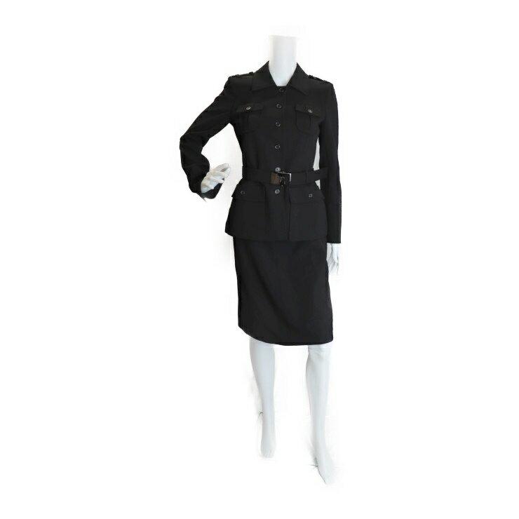 美品 PRADA プラダ セットアップ スカート ブラック ウール サイズ40【本物保証】【中古】
