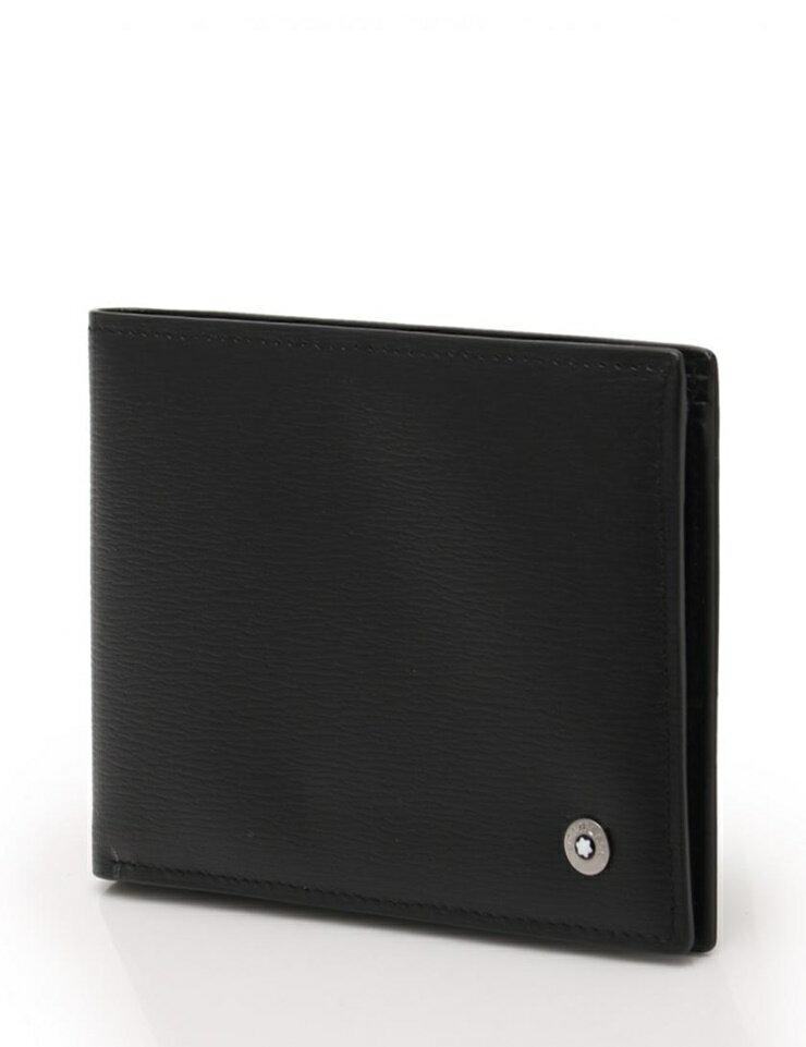 新品未使用展示品 MONTBLANC モンブラン 二つ折り 財布 札入れ レザー ブラック【本物保証】【中古】