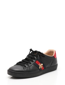 bddc76320c6 3R boutique  Beautiful article GUCCI Gucci ace embroidery sneakers leather  black black red men reference size 25cm