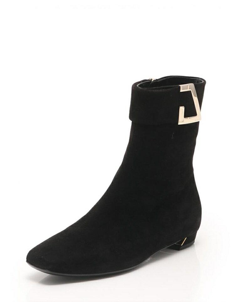 新品未使用展示品 GUCCI グッチ ショートブーツ スエード 黒 246706 メーカーサイズ35 1/2 参考サイズ22.5cm【本物保証】【中古】