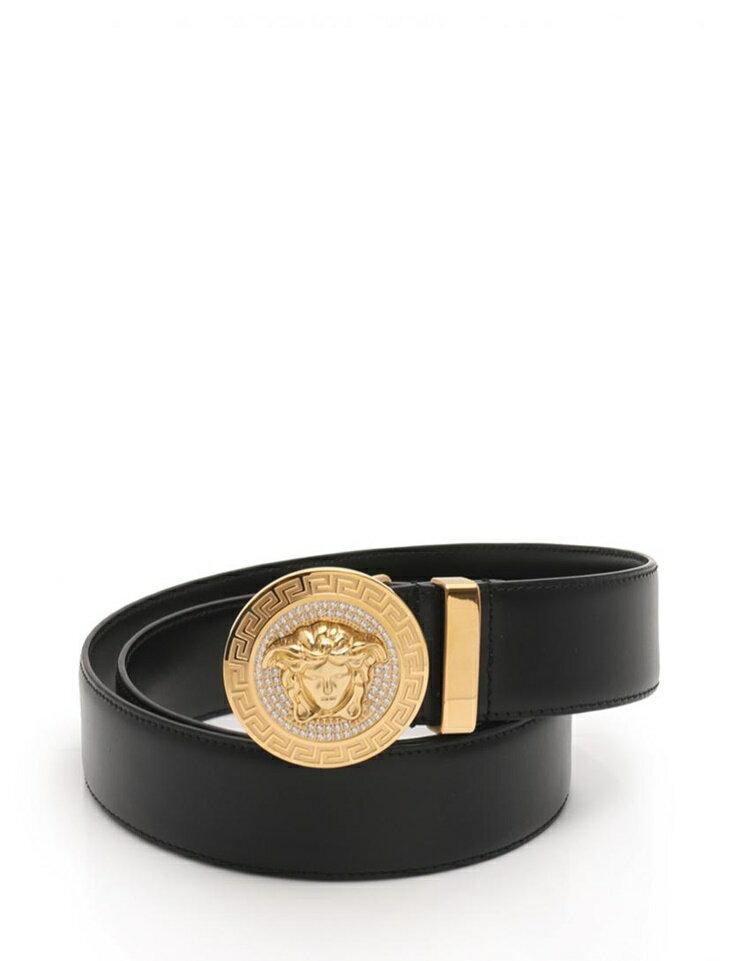 新品未使用展示品 Versace ヴェルサーチ メデューサ メンズ ベルト DCU 4954 レザー ラインストーン ブラック ゴールド アパレル 小物【本物保証】【中古】