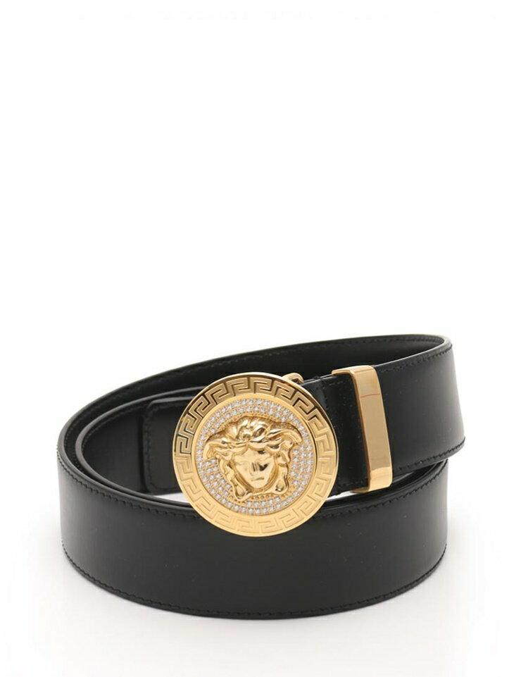 新品未使用展示品 Versace ヴェルサーチ メデューサ メンズ ベルト DCU 4954 レザー ラインストーン 黒 金色金具 アパレル 小物【本物保証】【中古】