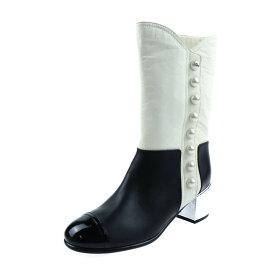超美品 CHANEL シャネル フェイクパール ロング ブーツ レザー 黒 アイボリー シルバー 日本参考サイズ 約23.5cm 表記サイズ 36 1/2C【本物保証】【中古】