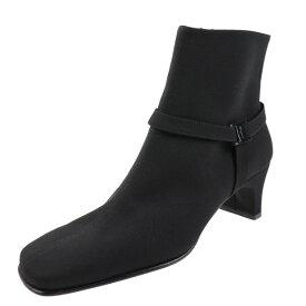 超美品 Ferragamo フェラガモ ヴァラ ブーツ 0330185 ナイロン キャンバス 黒 参考サイズ21cm 表記サイズ 3 1/2 【本物保証】【中古】