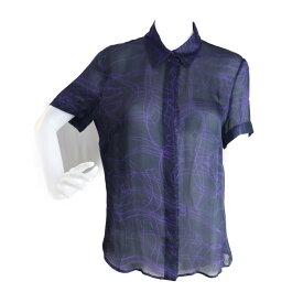 超美品 FENDI フェンディ シースルー シャツ 半袖シャツ シルク ブラック パープル 表記サイズ 44【本物保証】【中古】