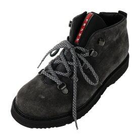 新品未使用展示品 PRADA プラダ キッズ サイドジップ シューズ ブーツ 0T0565 スウェード グレー 参考サイズ 20.5cm 表記サイズ 33【本物保証】【中古】