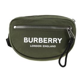 新品未使用展示品 BURBERRY バーバリー CANNON ML ロゴプリント ウエストバッグ 8014524 ナイロン カーキ【本物保証】【中古】