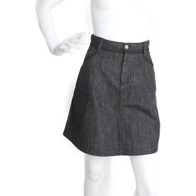 美品 LOUIS VUITTON ルイ ヴィトン スカート 34 コットン ブラック デニムスカート【本物保証】【中古】
