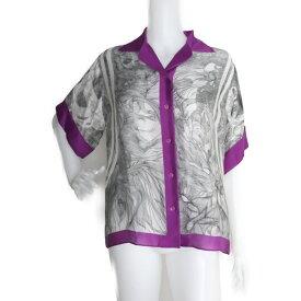 超美品 HERMES エルメス タグ付き 半袖シャツ シルク100% パープル ホワイト グレー 表記サイズ 42【本物保証】【中古】