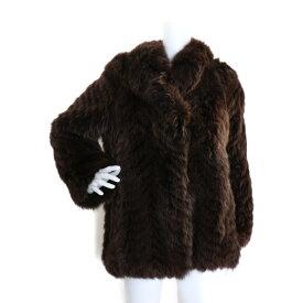 EMBA エンバ 毛皮ハーフコート ステンカラーコート A174-05 ブルーフォックス ブラウン系 表記サイズ 11【本物保証】【中古】