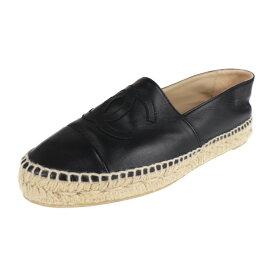 超美品 CHANEL シャネル その他靴 G29762 レザー ブラック エスパドリーユ 参考サイズ24cm 表記サイズ 38【本物保証】【中古】