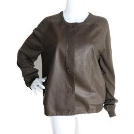 美品 HERMES エルメス テーラードジャケット 羊革 シルク ブラウン ニットジャケット 表記サイズ 42【本物保証】【中古】