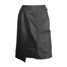 CHANEL シャネル ロングスカート P13106 レザー ブラウン ひざ丈スカート 表記サイズ 40【本物保証】【中古】