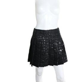 超美品 CHANEL シャネル ミニスカート アクリル ナイロン ウール ブラック 台形スカート 表記サイズ 38【本物保証】【中古】