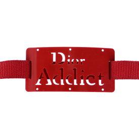 超美品 Dior ディオール ブレスレット プラスチック ナイロン ボルドー リボン【本物保証】【中古】