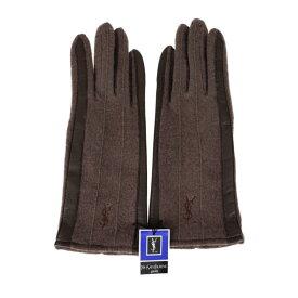 新品未使用展示品 YVES SAINT LAURENT イヴ サンローラン 手袋 カシミヤ ナイロン レザー ブラウン【本物保証】【中古】