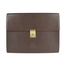 美品 LOEWE ロエベ クラッチバッグ レザー ブラウン ビジネスバッグ 書類鞄【本物保証】【中古】