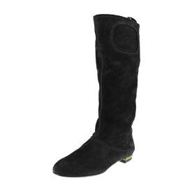 超美品 Salvatore Ferragamo サルヴァトーレ フェラガモ ブーツ 455224 スウェード ブラック 参考22.5 表記サイズ 5C【本物保証】【中古】