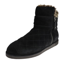 美品 CHANEL シャネル ショートブーツ ブーツ G27813 スウェード ムートン ブラック マトラッセ サイドジップ 参考サイズ 24.5cm 表記サイズ 37 1/2【本物保証】【中古】