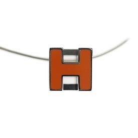美品 HERMES エルメス カージュドアッシュ Hキューブ ネックレス メタル オレンジ シルバー【本物保証】【中古】