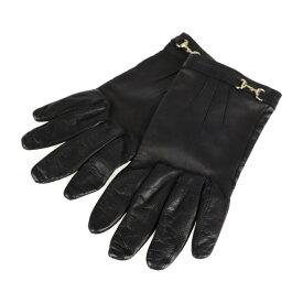 美品 GUCCI グッチ ホースビット 手袋 レザー シルク ブラック 表記サイズ 7【本物保証】【中古】