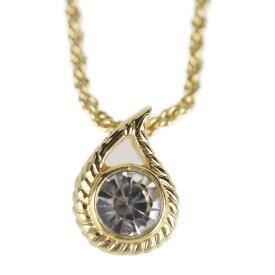 超美品 Christian Dior クリスチャンディオール ネックレス メタル ラインストーン ゴールド【本物保証】【中古】