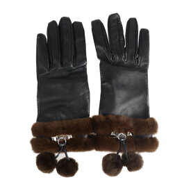 HERMES エルメス コリエドシアン 手袋 ラムスキン ミンクファー ブラック グローブ 表記サイズ 7【本物保証】【中古】