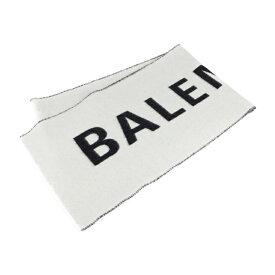 超美品 BALENCIAGA バレンシアガ マフラー ウール ホワイト ブラック ロゴ ストール【本物保証】【中古】