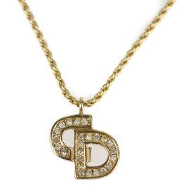 美品 Christian Dior クリスチャンディオール ネックレス メタル ゴールド CDロゴ【本物保証】【中古】