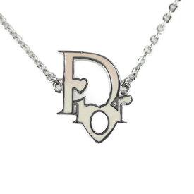 超美品 Christian Dior クリスチャンディオール ネックレス メタル カラーストーン シルバー ハート ロゴ【本物保証】【中古】