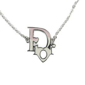 超美品 Christian Dior クリスチャンディオール ネックレス メタル カラーストーン シルバー ロゴ ハート【本物保証】【中古】