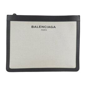 美品 BALENCIAGA バレンシアガ セカンドバッグ 410119 キャンバス レザー アイボリー ブラック クラッチ【本物保証】【中古】