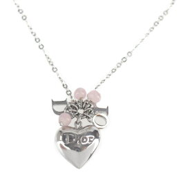 Christian Dior クリスチャンディオール ネックレス メタル シルバー ハート ロゴ【本物保証】【中古】