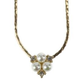 美品 Christian Dior クリスチャンディオール ネックレス メタル フェイクパール ラインストーン ゴールド【本物保証】【中古】