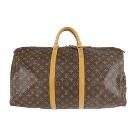 LOUIS VUITTON ルイ ヴィトン キーポル55 モノグラム ボストンバッグ M41424 PVC レザー ブラウン 旅行鞄【本物保証】【中古】