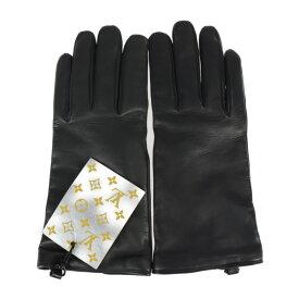 超美品 LOUIS VUITTON ルイ ヴィトン ゴン LV ステープル エディション 手袋 MP2429 羊革 ブラック グローブ 表記サイズ 23cm【本物保証】【中古】