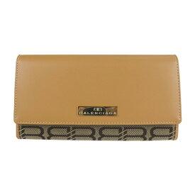 超美品 BALENCIAGA バレンシアガ 二つ折り財布 BW2999 キャンバス レザー ブラウン キャメル 長財布【本物保証】【中古】