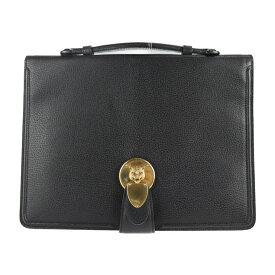 GUCCI グッチ ビジネスバッグ 495655 レザー ブラック キャットヘッド クラッチバッグ【本物保証】【中古】