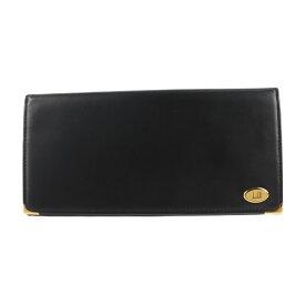 超美品 Dunhill ダンヒル オックスフォード 二つ折り財布 WM1390A レザー ブラック 長財布【本物保証】【中古】