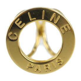 CELINE セリーヌ スカーフリング メタル ゴールド サークル ロゴ【本物保証】【中古】