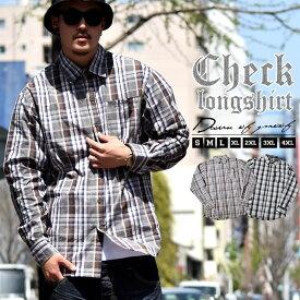 【ネコポス対応】 b系 ファッション チェックシャツ メンズ 大きいサイズ ロングシャツ 長袖シャツ ヒップホップ ストリート系ファッション