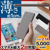 カードバッテリー5000mAhスマートフォン充電器スマホバッテリーiPhone5iPad