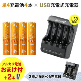 充電池 充電器 充電器セット 単4 950mAh 充電池 4本 USB 充電器 セット ケース付 単4型 単4形 単四 USB 充電 電池 充電器 単四 充電電池 充電式電池 ラジコン おすすめ 充電地 エネボルト