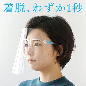 フェイスシールド メガネ型 眼鏡型 メガネタイプ 飛沫ガード 全面透明 軽量 フェイスガード ウイルス ウイルス対策 眼鏡対応 眼鏡着用可 飛沫 眼鏡の上から 男女兼用 送料無料 接客 大人用 着脱 らくらく