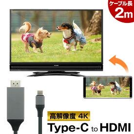 スマホ → HDMI → テレビ!【スマートフォンを、HDMI端子のテレビに映せる】HDMI変換 ミラーリング 4K USB Type-C to HDMI ケーブル Mac Windows パソコン Android スマホ 対応 【送料無料】