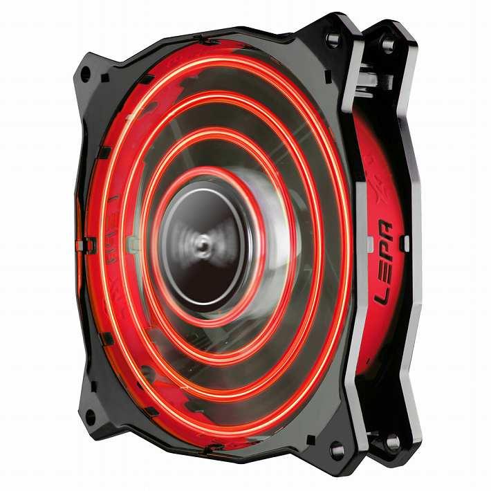 LEPA LPCPA12P-R Chopper Advance 30種類LEDエフェクト搭載 120mm LEDファン PWM対応(レッド)【在庫限り特価!】