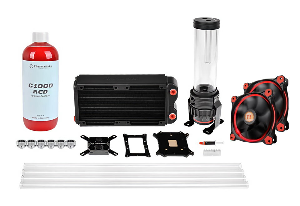 Thermaltake CL-W128-CA12RE-A Pacific RL240 D5 Hard Tube Water Cooling Kit Pacific RL240ラジエーター、PET-G Tube同封モデル