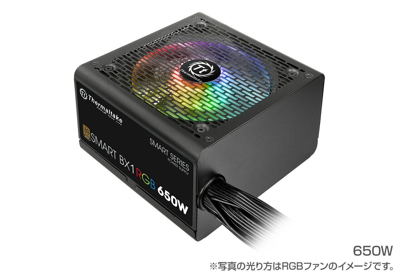 Thermaltake PS-SPR-0650NHFABJ-1 Smart BX1 RGB 650W -Bronze- 80PLUS BRONZE認定取得。7色3パターンの発光モードを備えるRGBファンを搭載しコストパフォーマンスに優れた電源ユニット(PS824)