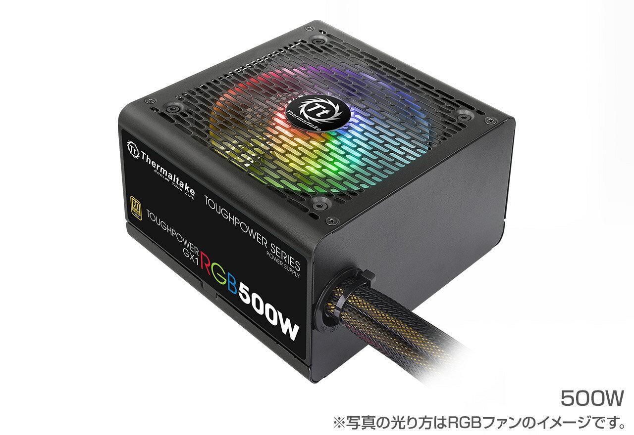 Thermaltake PS-TPD-0500NHFAGJ-1 TOUGHPOWER GX1 RGB 500W -GOLD- 80PLUS GOLD認定取得。7色3パターンの発光モードを備えるRGBファンを搭載した電源ユニット(PS814)