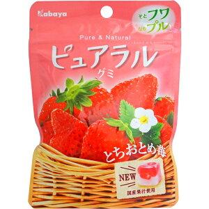 100円 ピュアラルグミ とちおとめ苺 [1箱 8個入]【グミ カバヤ kabaya キューブ イチゴ いちご まとめ買い 小袋】